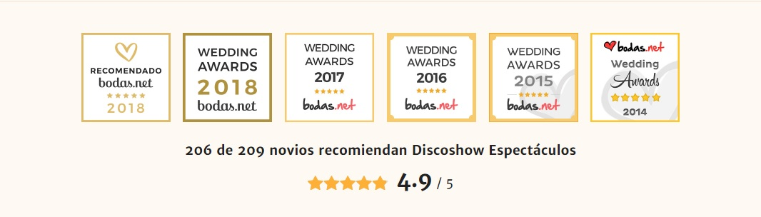 discoshow espectaculos premios wedding awards 2018, 2017 , 2016, 2015 en bodas.net